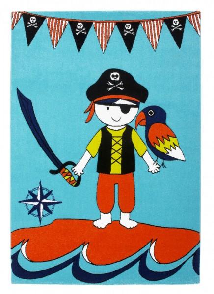 Moderner Kinder Velours Teppich Blau Weiss Rot Kleiner Pirat