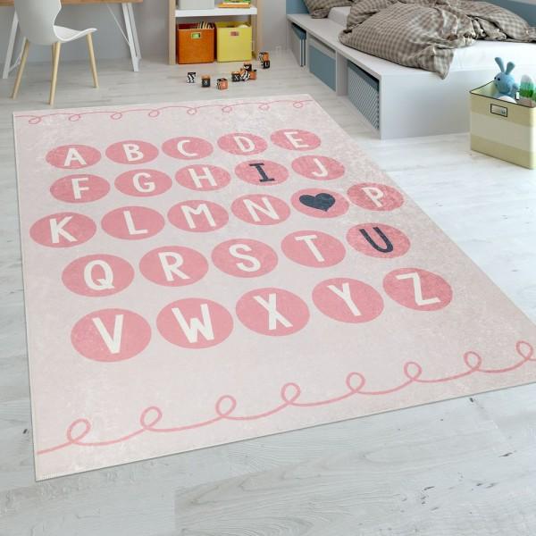 Kinderteppich Kinderzimmer Moderner Lernteppich Waschbar Verspielt ABC Rosa Weiß