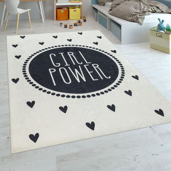 Kinderteppich Kinderzimmer Mädchen Waschbar Spruch Herzen Modern In Schwarz Weiß