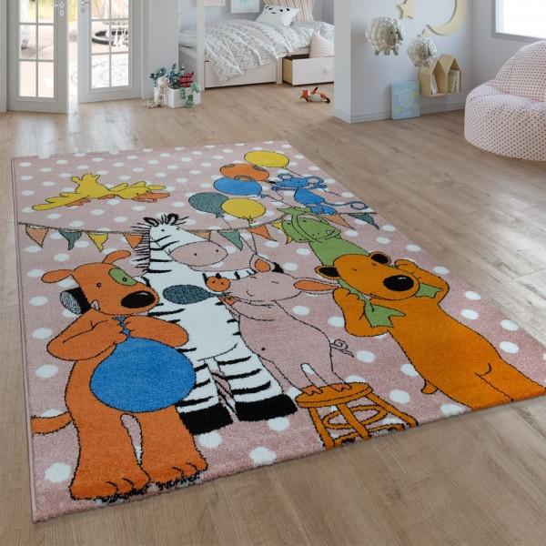 Kinder-Teppich, Kurzflor Für Kinderzimmer, Mit Sieben-Lieben-Motiv, In Pink