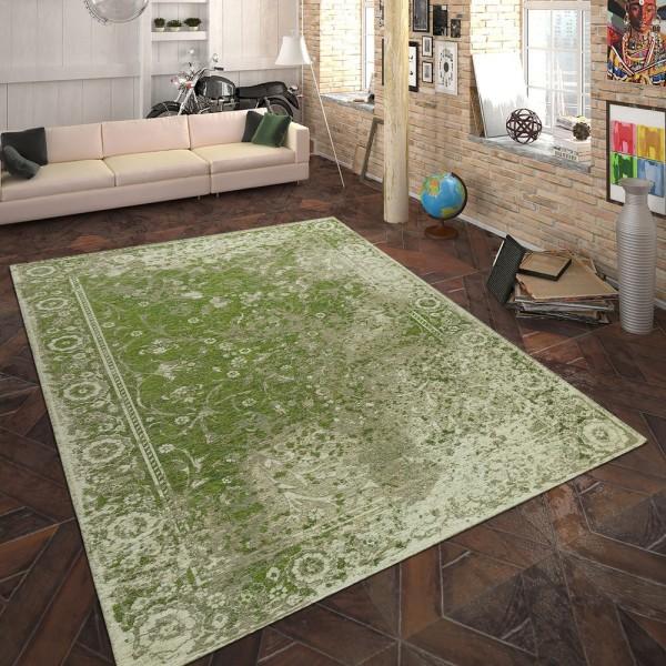 Teppich Flachgewebe Vintage Optik Grün