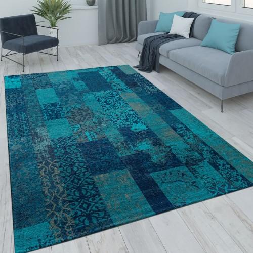 Patchwork Kurzflor Teppich Wohnzimmer Moderne Vintage Optik Floral Blau Türkis