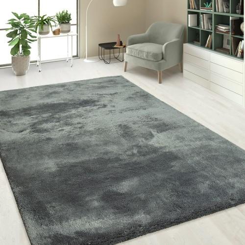 Handgetuftet Hochflorteppich Einfarbig Soft Silber Grau