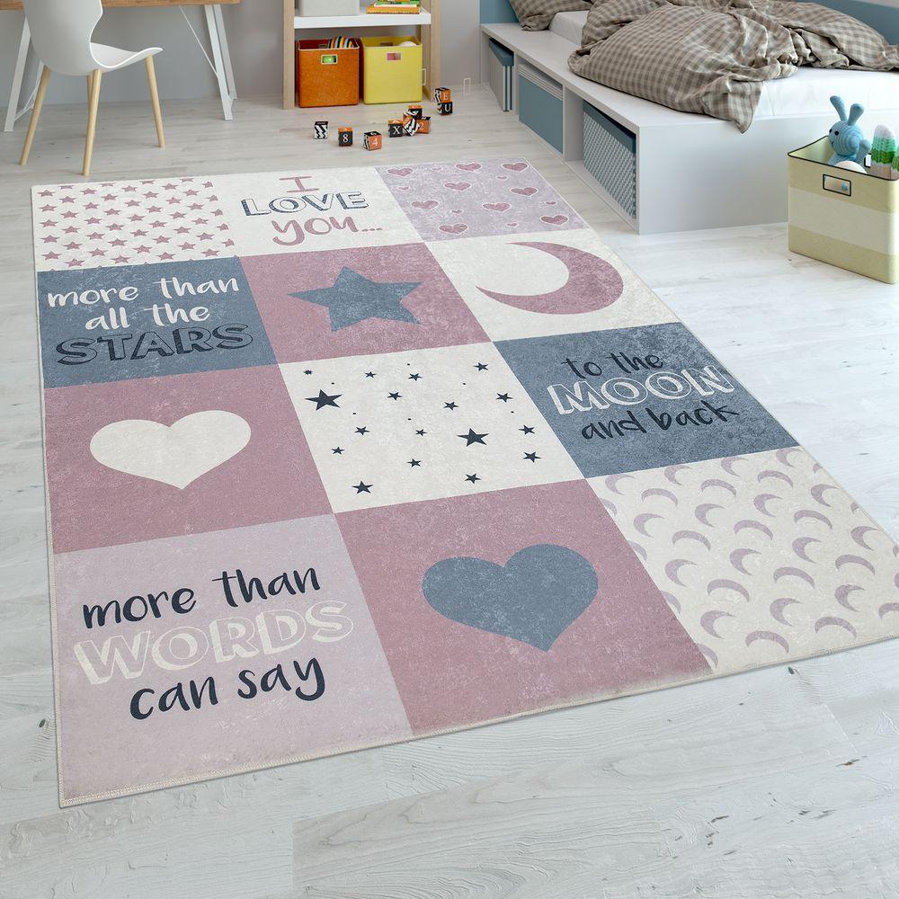 Teppich Kinderzimmer Mädchen Herzen Sterne Mond