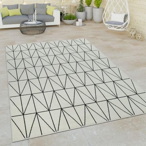 Outdoor Indoor Teppich Weiß 3D Optik Bordüre Skandinavisches Design Kurzflor