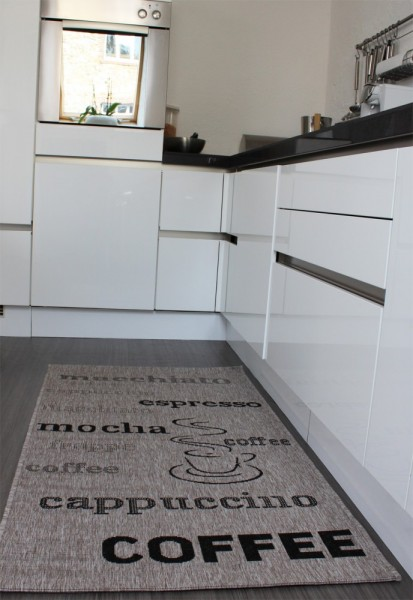 Teppich Sisal Optik in Grau mit Schriftzug espresso, cappuccino, coffee Neu*OVP