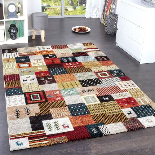 Designer Teppiche Modern Loribaft Nomaden Teppich Terra Rot Grün Multicolour