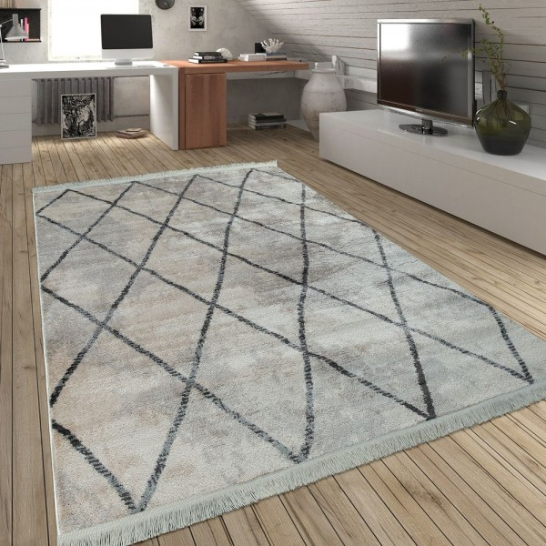 Wohnzimmer Teppich Rauten Fransen Skandinavisch Muster Karo In Grau Creme