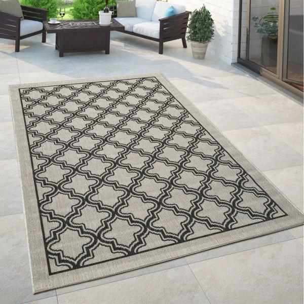 Orient Teppich Grau Anthrazit Outdoor Balkon Wohnzimmer Marokkanisches Muster