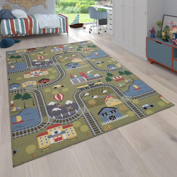 Kinder-Teppich Wendbar Mit Zwei Motiven Bunt