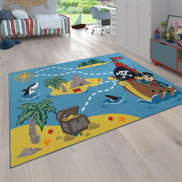 Kinderteppich Piraten Design Schiff Schatz Meer