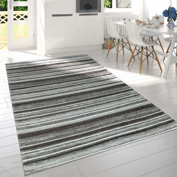 Moderner Kurzflor Wohnzimmer Teppich Streifen Design Meliert In Grau Weiß Anthrazit