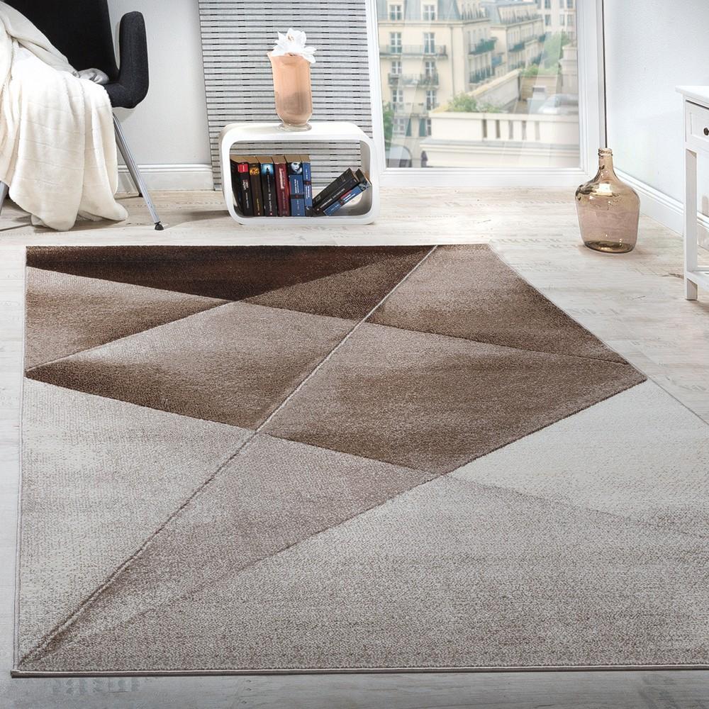 Teppich Wohnzimmer Muster Kurzflor Meliert