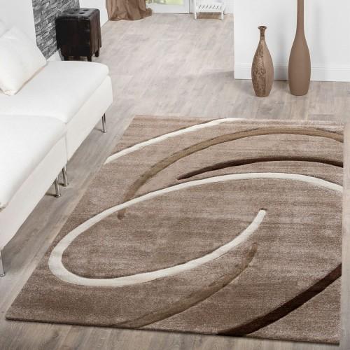 Kurzflor Wohnzimmer Teppich mit Spiralen Muster