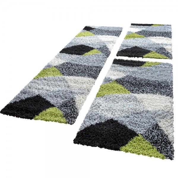 Läuferset Shaggy in Schwarz, Weiß, Grau und Grün