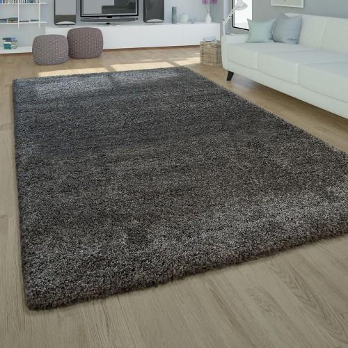 Moderner Hochflor Teppich Hochwertig Kuschelig Weicher Shaggy Einfarbig In Grau