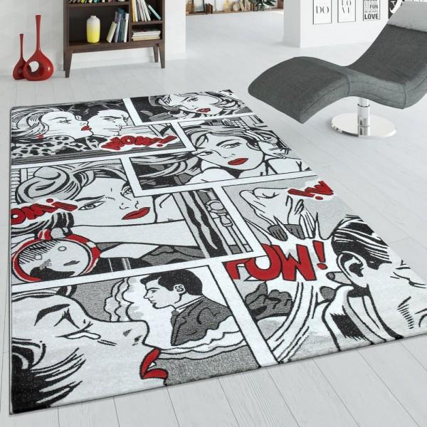 Designer Teppich Comic Grau rot