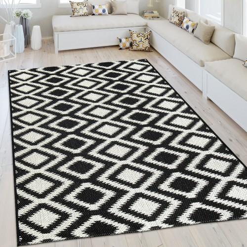 In- & Outdoor Teppich Rauten Design Weiß