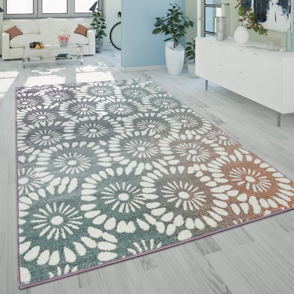 Kurzflor Wohnzimmer Teppich Modern Abstraktes Florales Design Retro Mehrfarbig