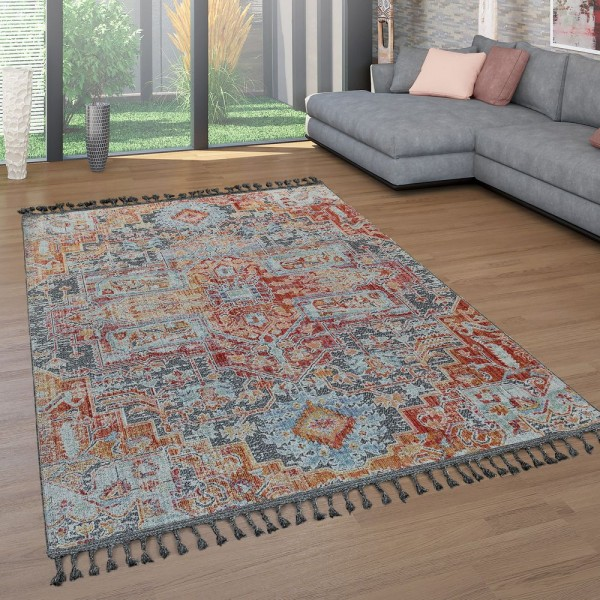 Teppich Wohnzimmer Fransen Bunt Ethno Design Orient Muster Vintage Used Look
