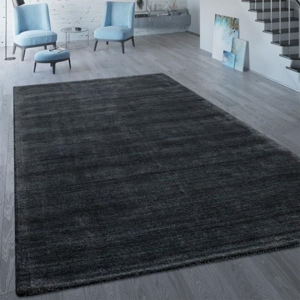 Kurzflor Teppich Einfarbig Modern Anthrazit