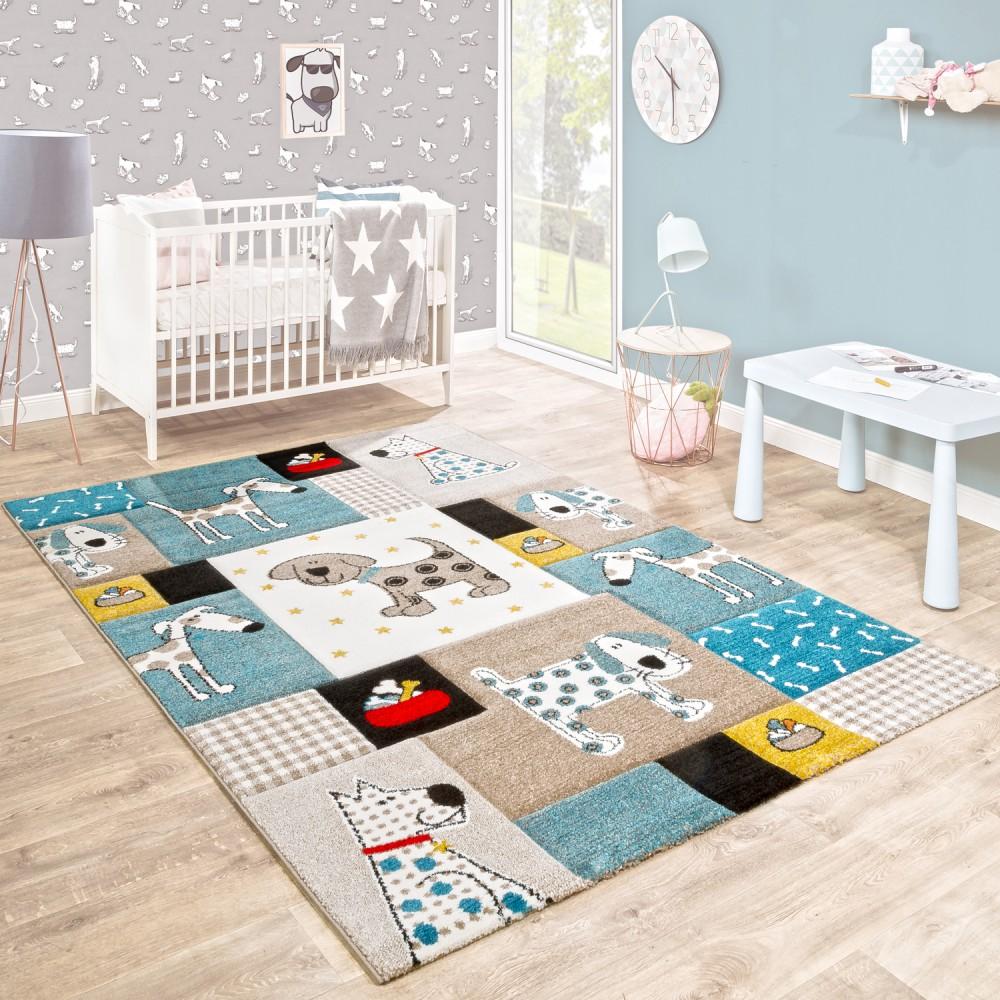 Kinderteppich Kinderzimmer 3-D Hunde Pastellfarben