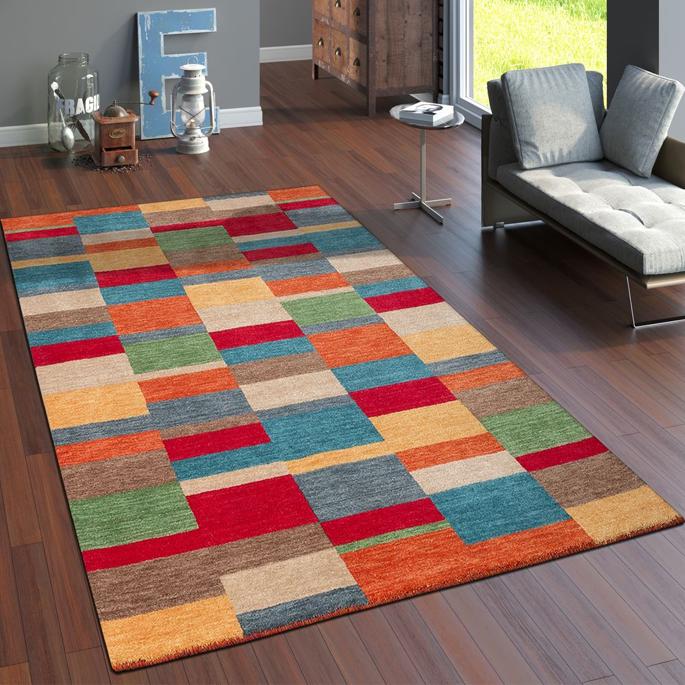 Teppich Handgewebt Gabbeh Hochwertig 100/% Wolle Meliert Kariert Multicolor