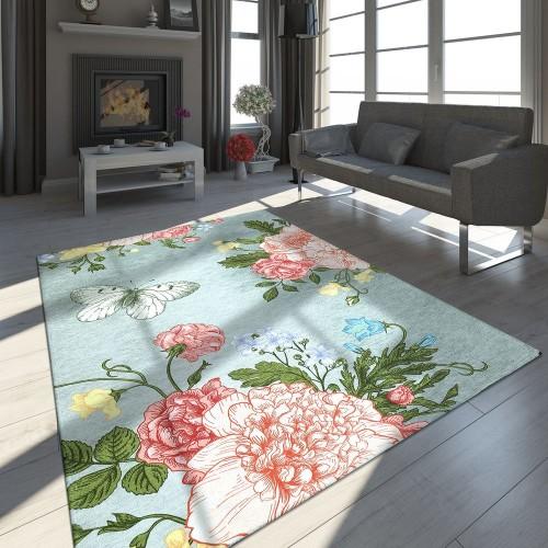 Designer Teppich Rosen Schmetterling Muster Silber Grau