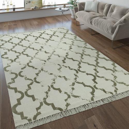 Flachgewebe Teppich Marokkanisches Muster Taupe