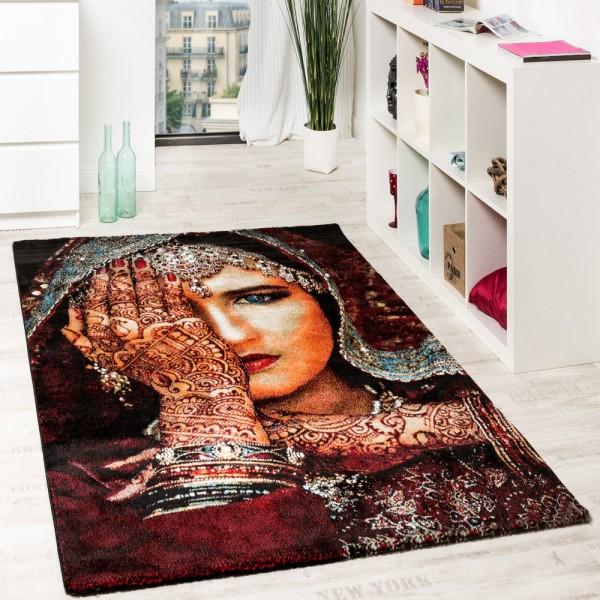 Designer Teppich Nomaden Frau Mit Henna Hand Tattoo In Multicolor Rot Schwarz