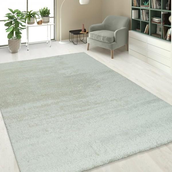 Hochflorteppich Einfarbig Weiß