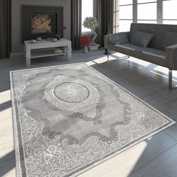 Orient Teppich Modern 3D Effekt Meliert Schimmernd Ornamente Bordüre Grau Weiß