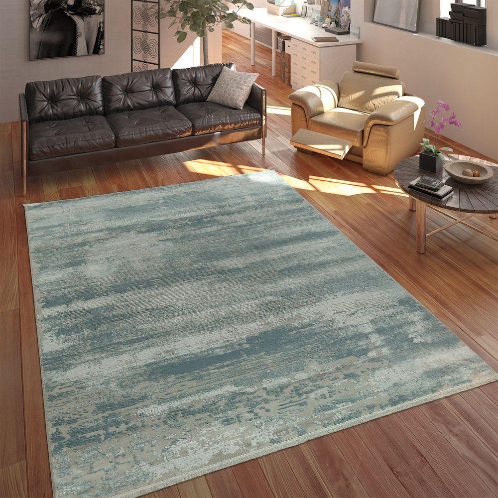 Wohnzimmer Teppich Shabby Chic Fransen 3-D | teppich.de