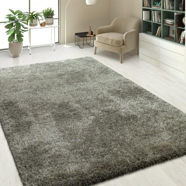 Hochflor Shaggy Teppich Einfarbig Silber Grau