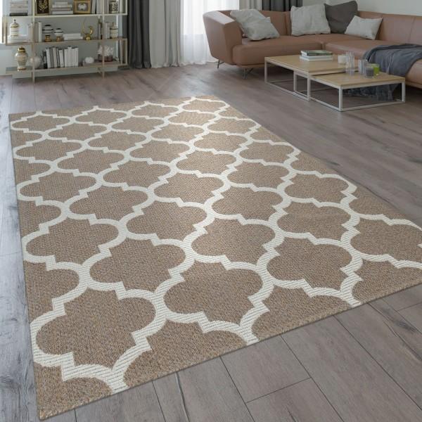 Orient Teppich Beige Braun Wohnzimmer Küche Web Muster Marokkanisches Design