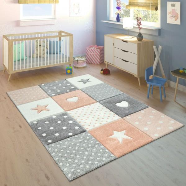 Kinderteppich Kinderzimmer Kariert Punkte Herzen Sterne In Pastell Apricot Grau