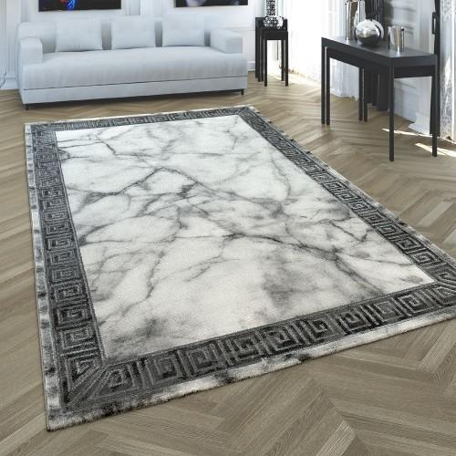 Wohnzimmer Teppich Grau Silber Anthrazit Bordüre Marmor Muster Weich Kurzflor