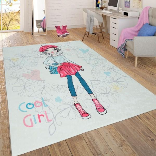 Trendiger Flachgewebe Kinderzimmer Mädchen Teppich Pastellfarben Blond Bunt