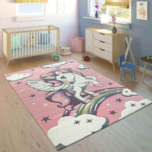 Kinderteppich Kinderzimmer Regenbogen Einhorn 3-D