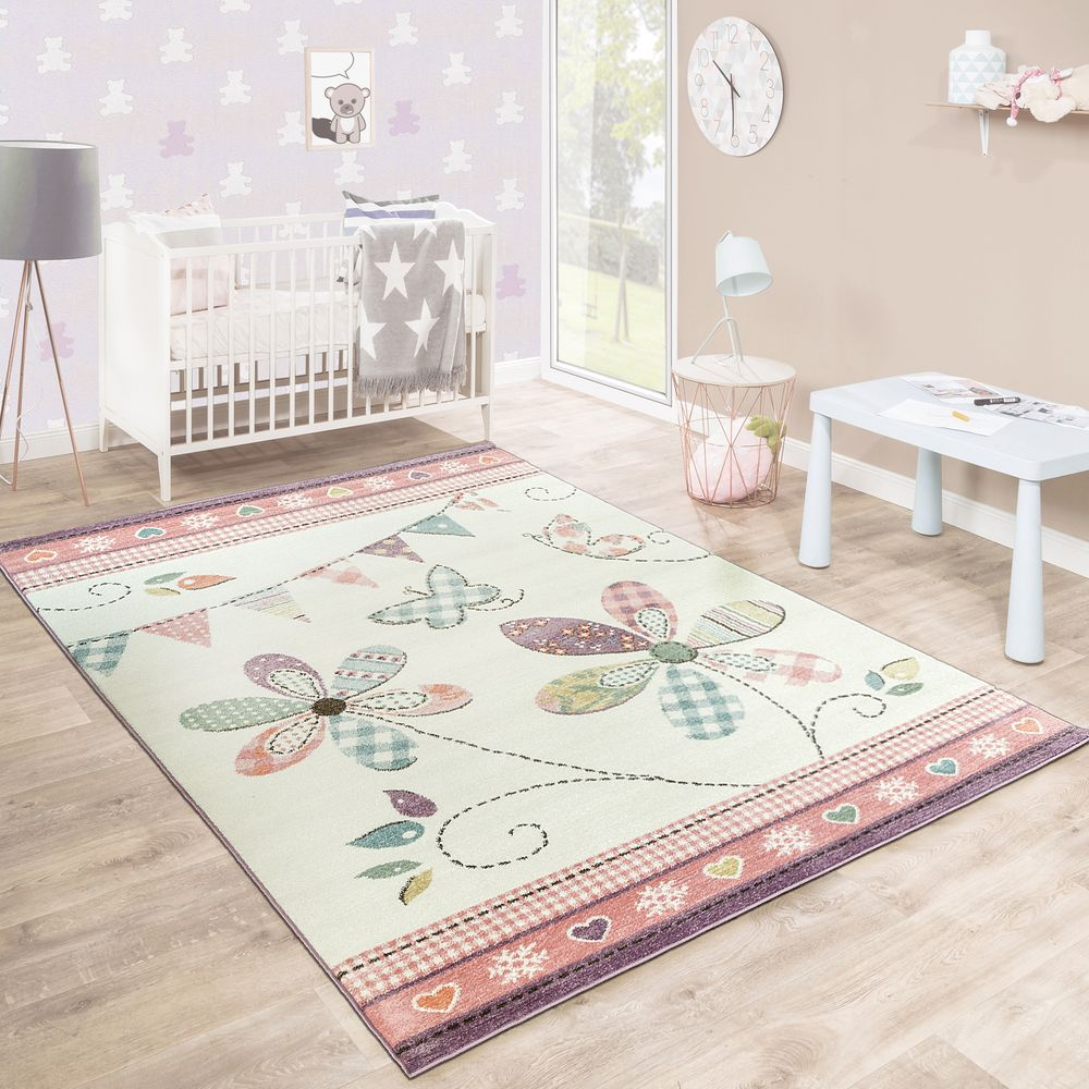 Kinderteppich Kinderzimmer Mädchen Blume Pastell