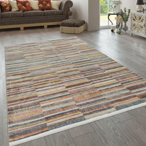 Teppich Wohnzimmer Vintage Muster Orientalisch Kurzflor Streifen Gelb Blau Rot