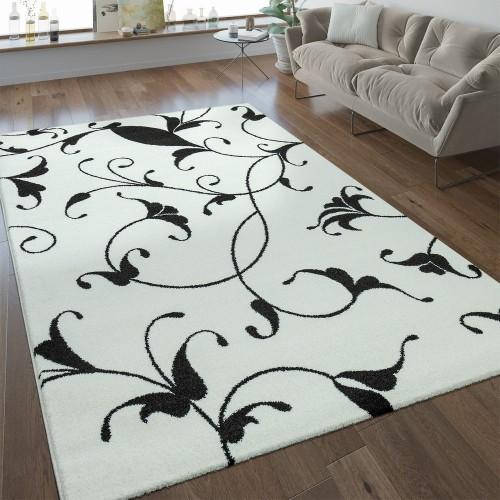 Moderner Kurzflor Teppich Florales Design Weiß