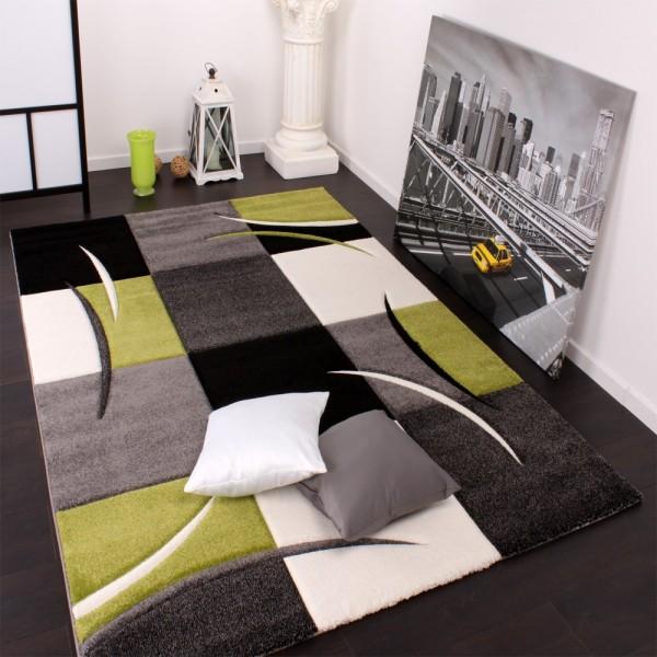Designer Teppich mit Konturenschnitt Karo Muster Grün Schwarz