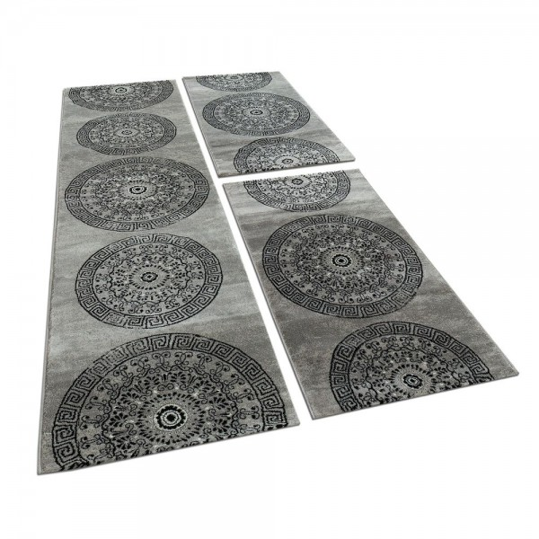Läufer-Set mit Kreis-Muster in Grau