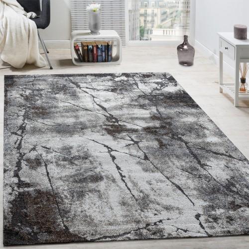 Edler Designer Teppich Wohnzimmer Abstrakt 3D Used-Style Naturtöne Grau
