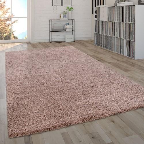 Shaggy Teppich Hochflor Flauschig Wohnzimmer Pflegeleicht Modern Uni In Pink