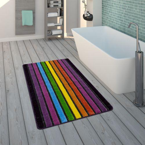 Badematte Kurzflorteppich Badezimmer Streifen