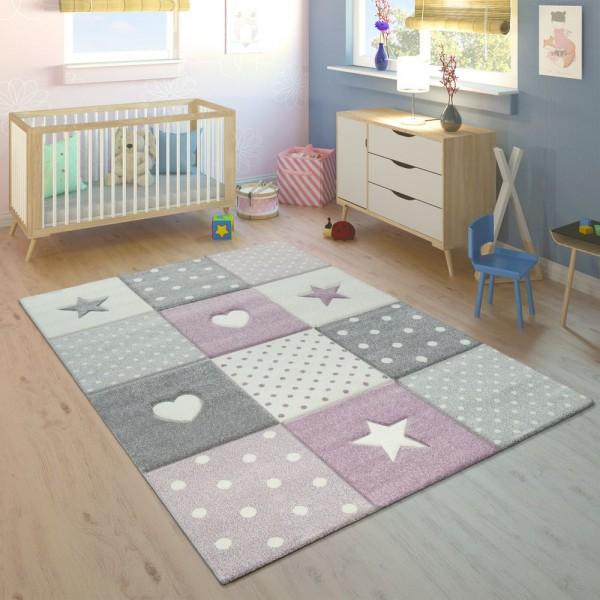 Kinderteppich Kinderzimmer Kariert Punkte Herzen Sterne In Pastell Lila Grau