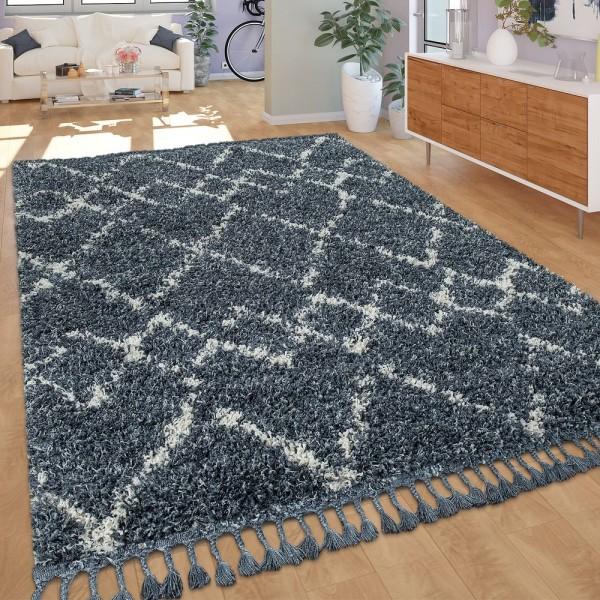 Shaggy Teppich Wohnzimmer Hochflor Modern Karomuster Rauten In Blau Weiß