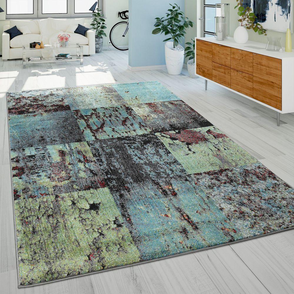 Teppich Modern Wohnzimmer Abstrakt Rost Optik